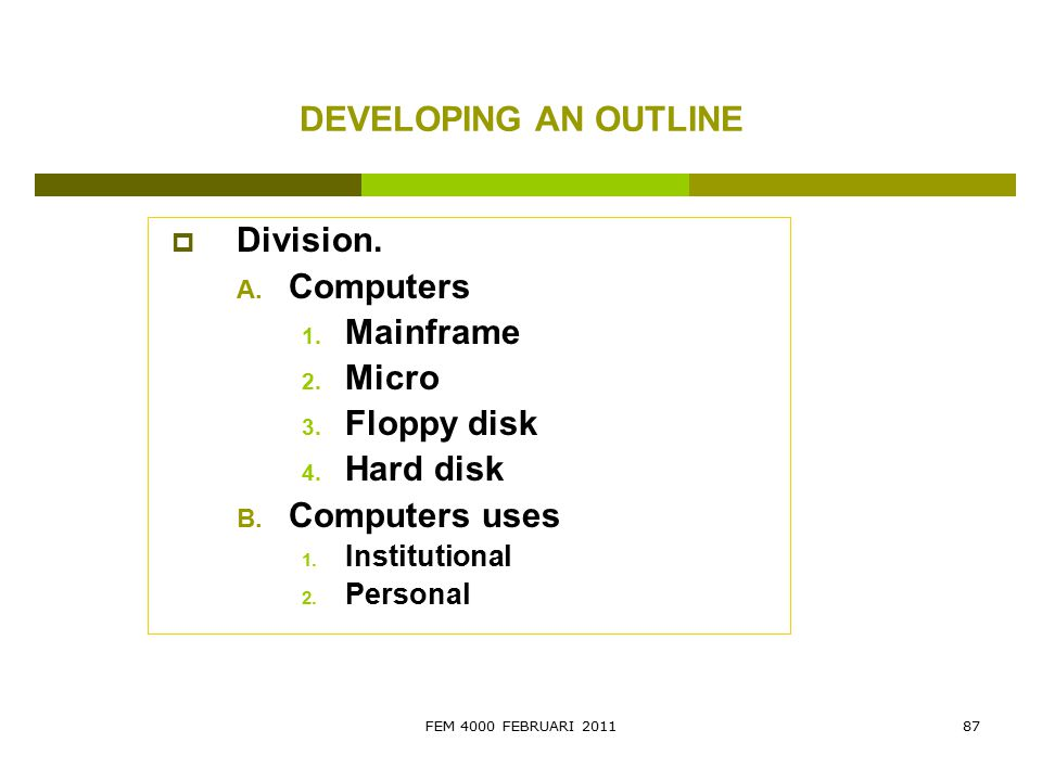 DEVELOPING AN OUTLINE Division. Computers Mainframe Micro Floppy disk