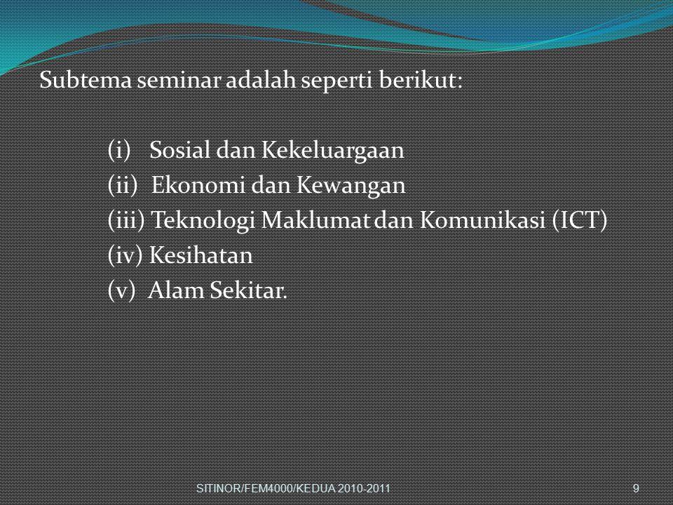 Subtema seminar adalah seperti berikut: (i) Sosial dan Kekeluargaan