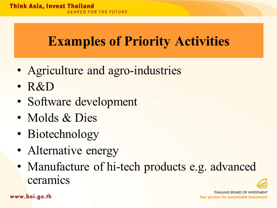 Examples of Priority Activities