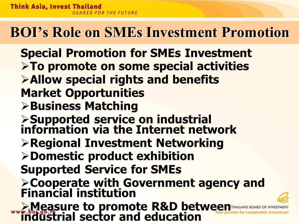 BOI's Role on SMEs Investment Promotion