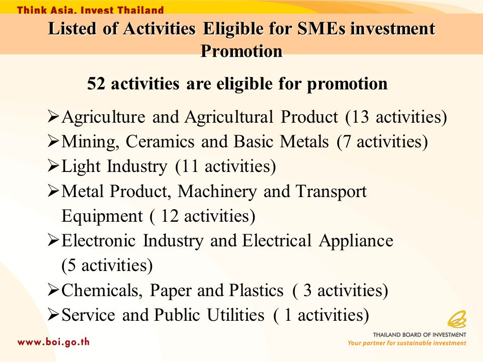 Listed of Activities Eligible for SMEs investment Promotion