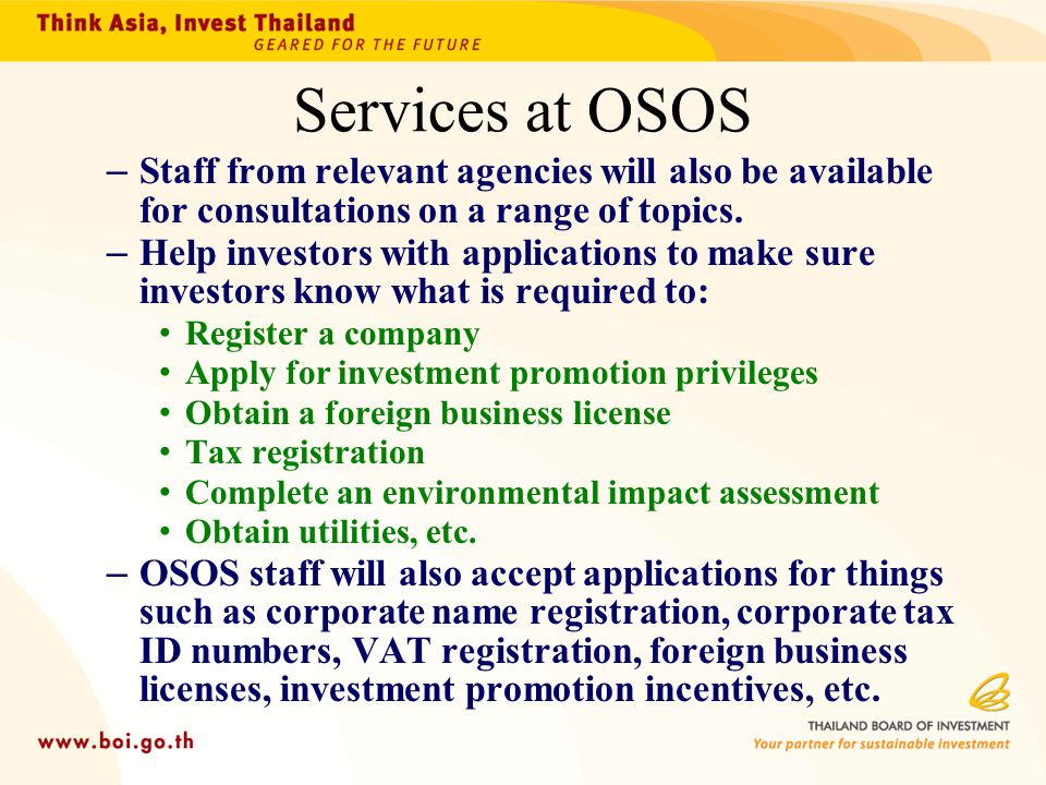 Services at OSOS Staff from relevant agencies will also be available for consultations on a range of topics.