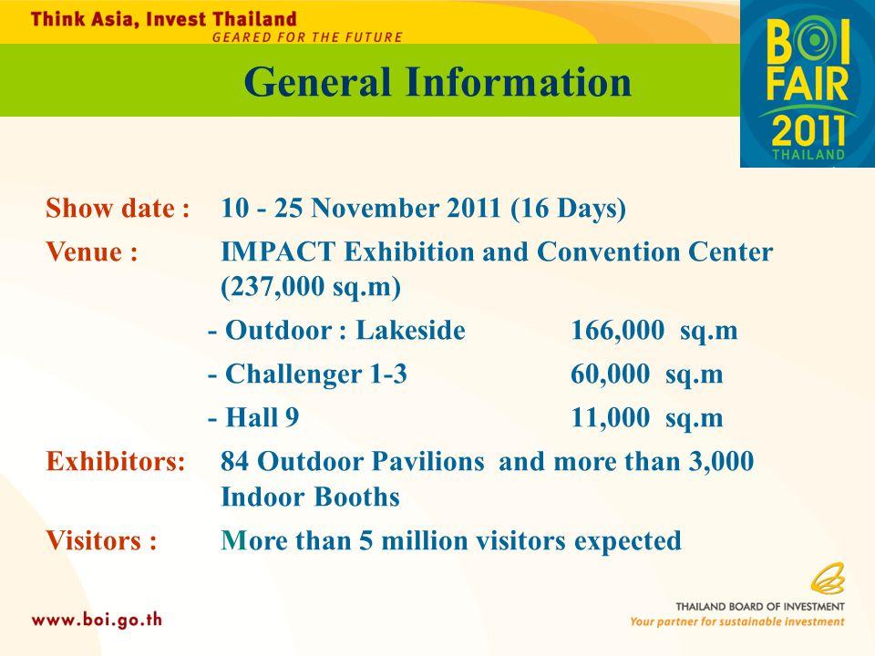General Information Show date : 10 - 25 November 2011 (16 Days)
