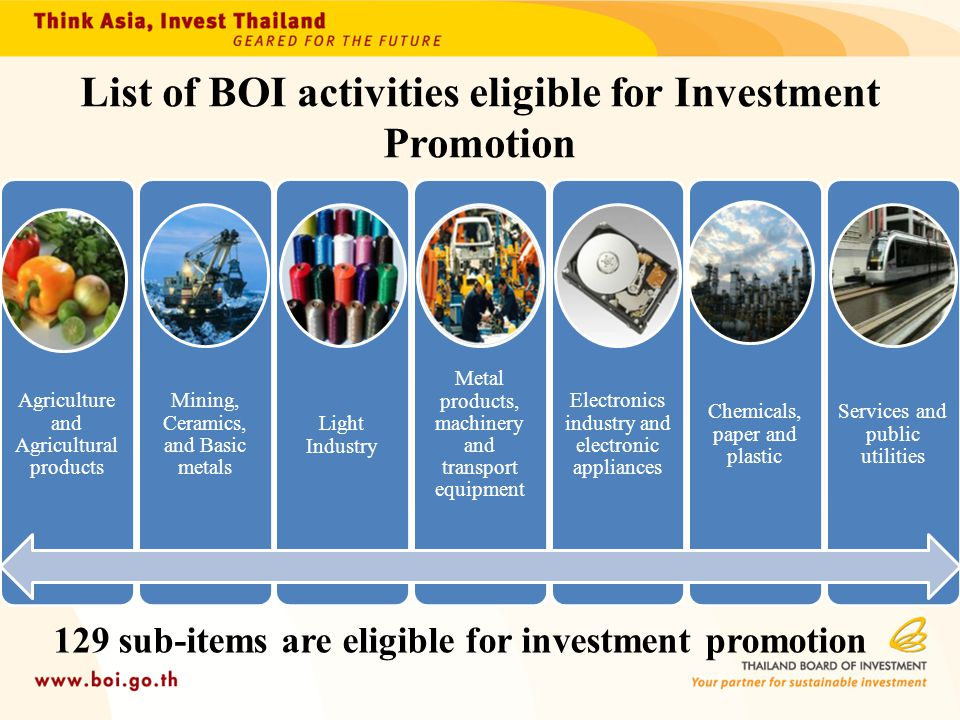 List of BOI activities eligible for Investment Promotion