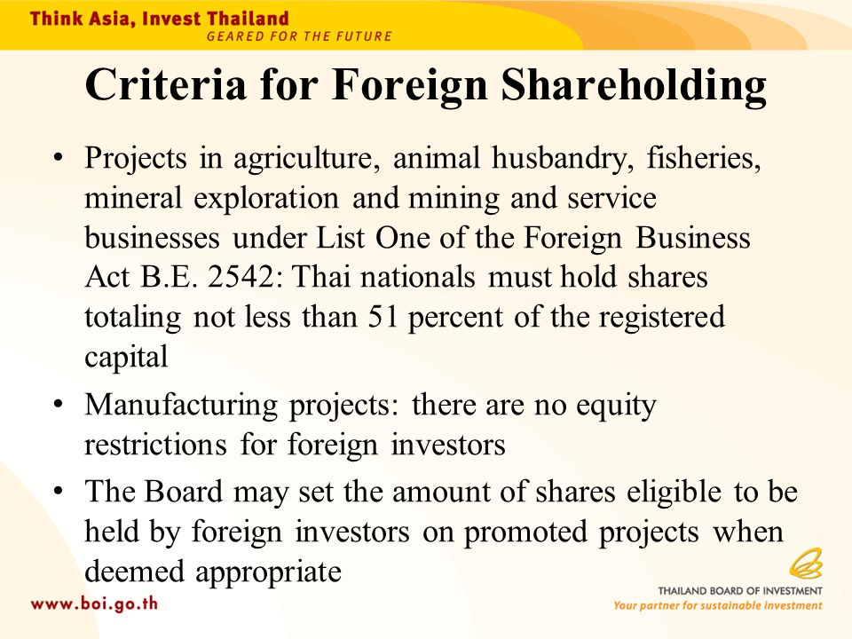 Criteria for Foreign Shareholding