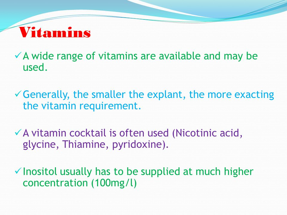 Vitamins A wide range of vitamins are available and may be used.