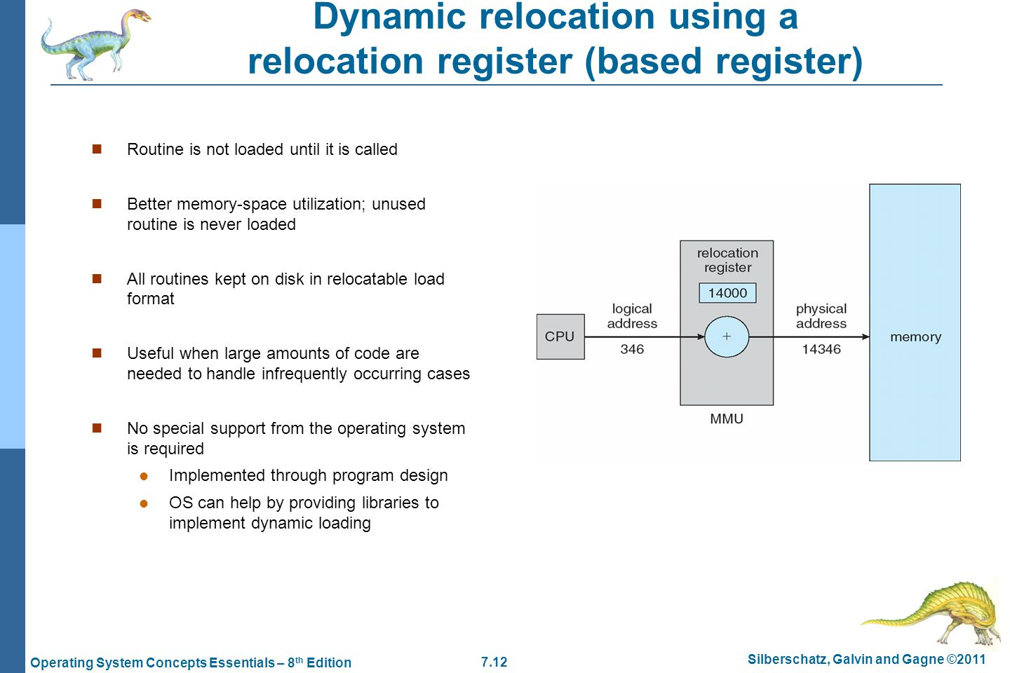 Dynamic relocation using a relocation register (based register)