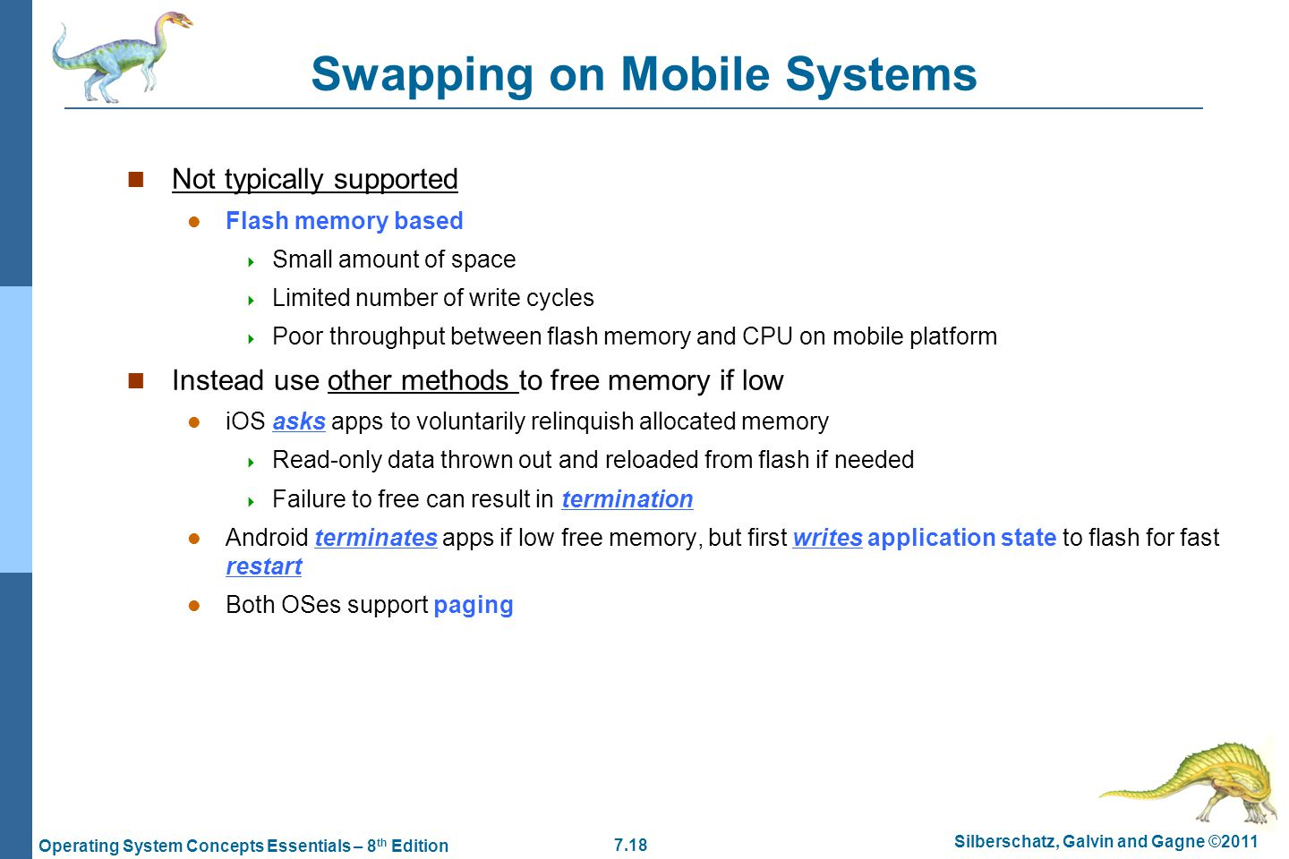 Swapping on Mobile Systems