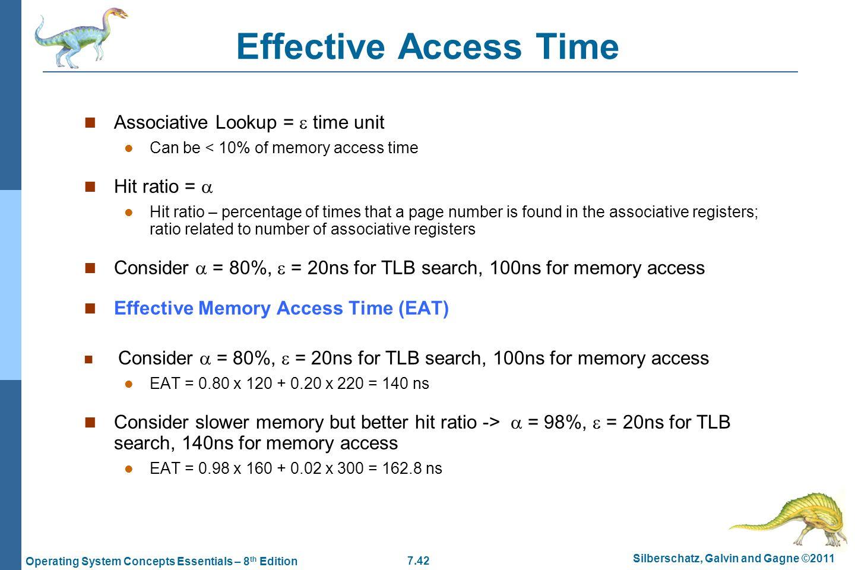 Effective Access Time Associative Lookup =  time unit Hit ratio = 