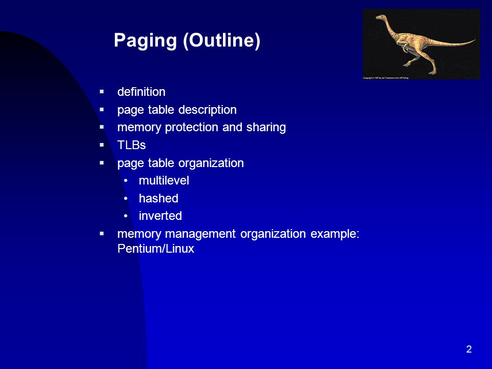 Paging (Outline) definition page table description