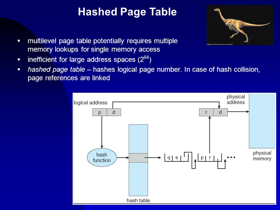 4/14/2017 Hashed Page Table. multilevel page table potentially requires multiple memory lookups for single memory access.