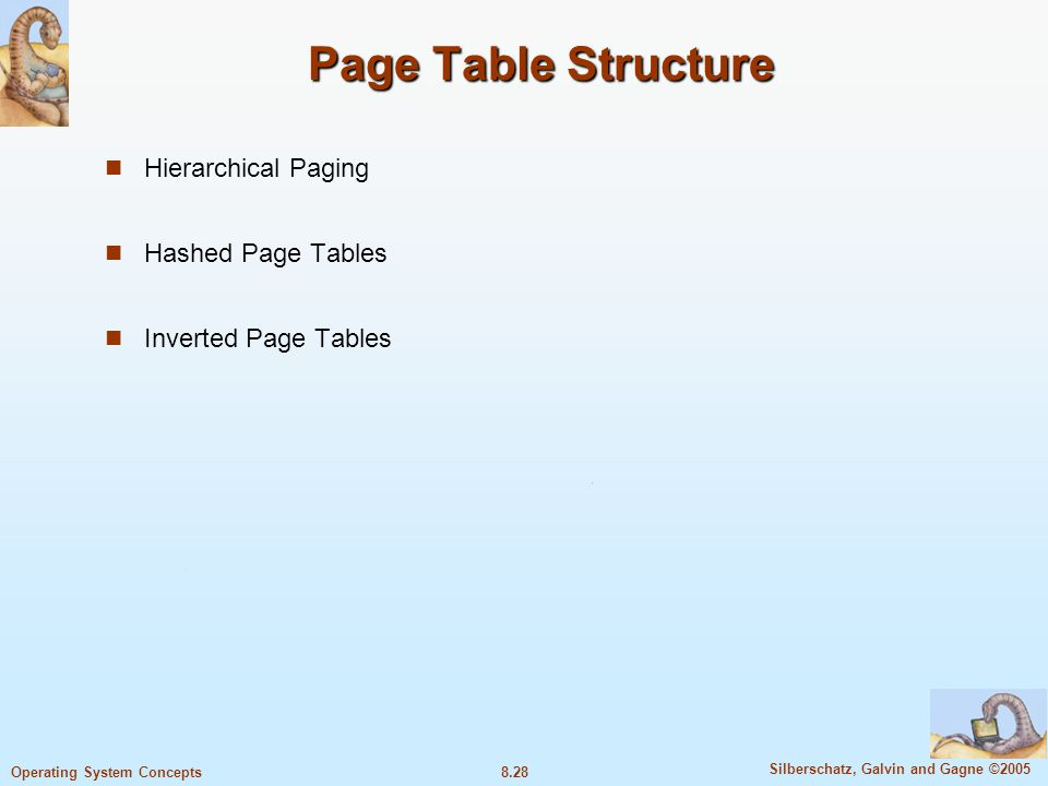 Page Table Structure Hierarchical Paging Hashed Page Tables