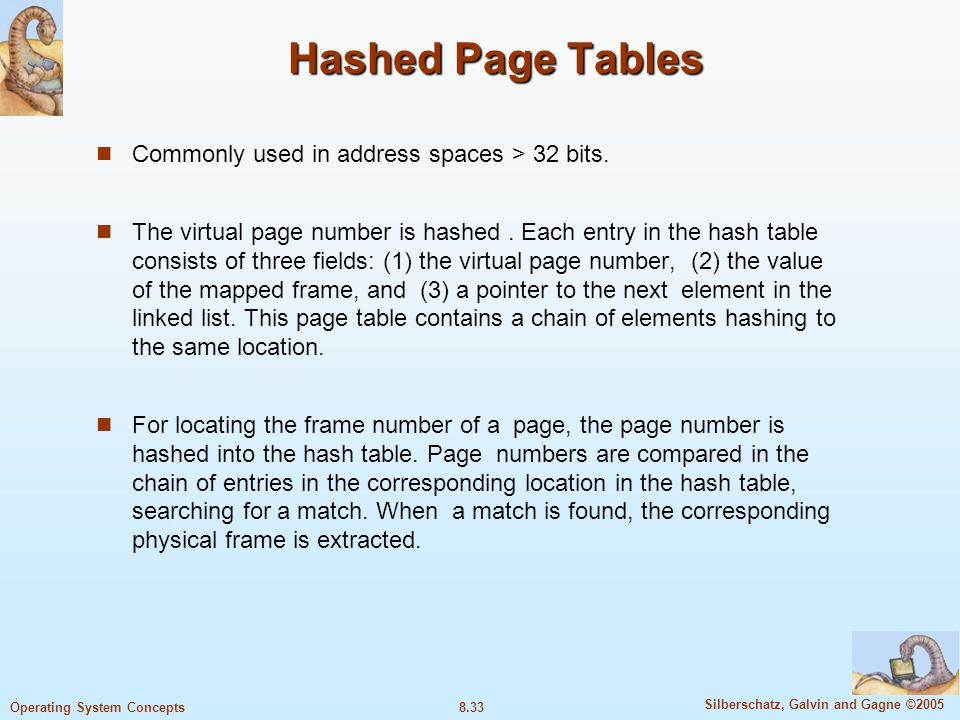 Hashed Page Tables Commonly used in address spaces > 32 bits.