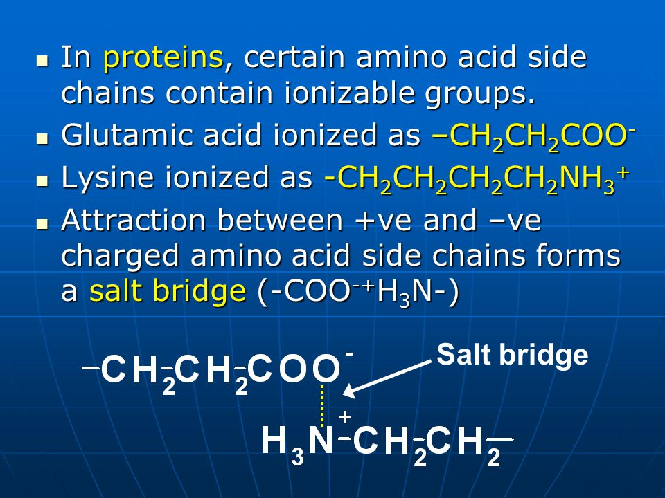 In proteins, certain amino acid side chains contain ionizable groups.