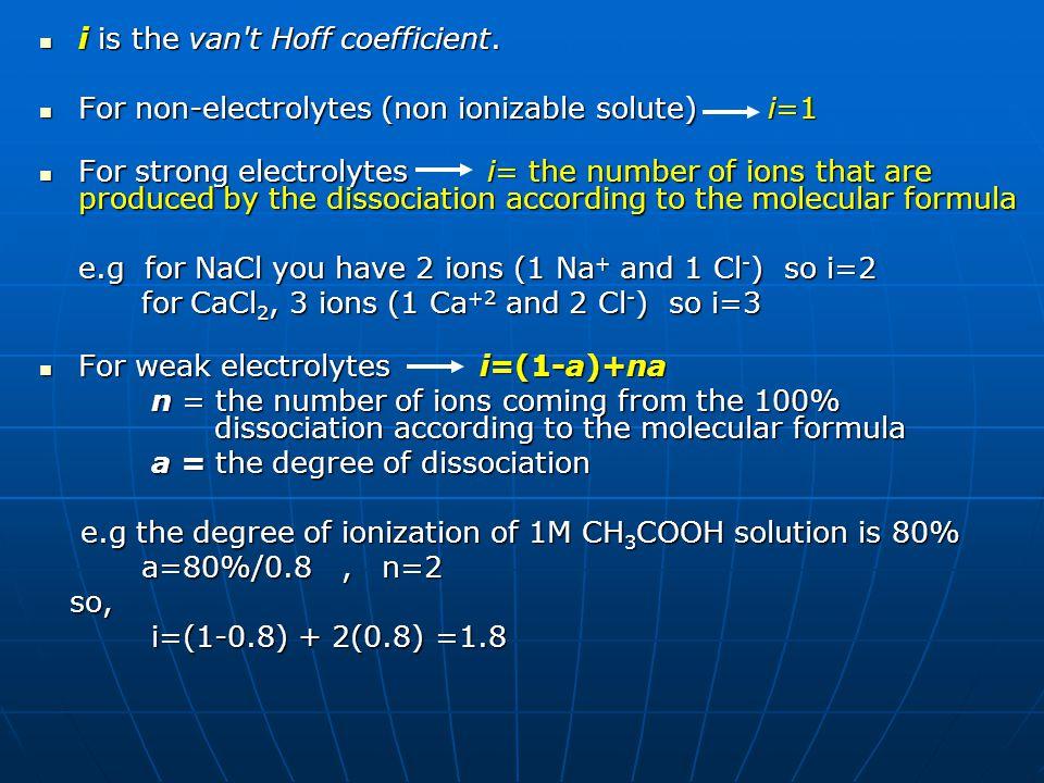 i is the van t Hoff coefficient.