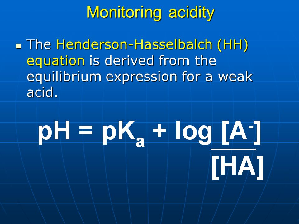 Monitoring acidity The Henderson-Hasselbalch (HH) equation is derived from the equilibrium expression for a weak acid.