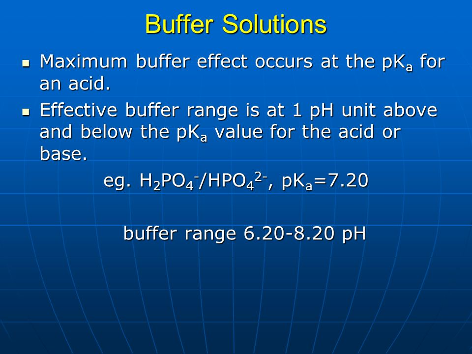 Buffer Solutions Maximum buffer effect occurs at the pKa for an acid.
