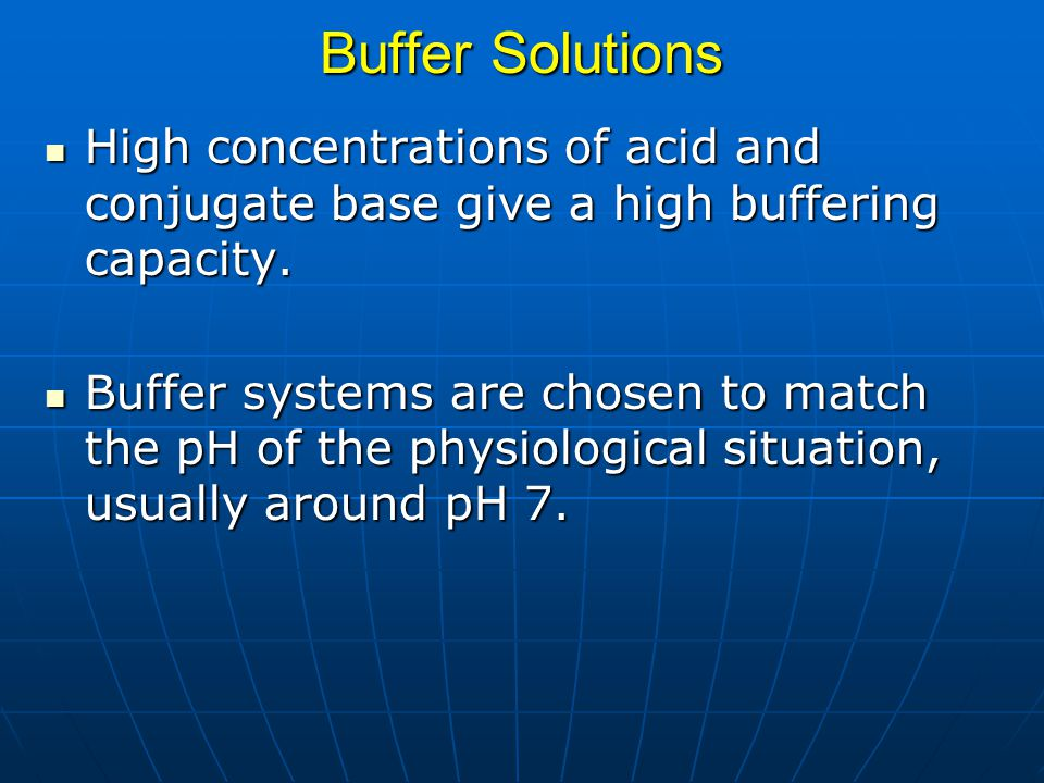 Buffer Solutions High concentrations of acid and conjugate base give a high buffering capacity.