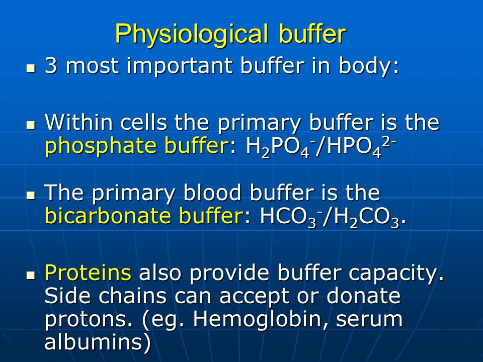 Physiological buffer 3 most important buffer in body: