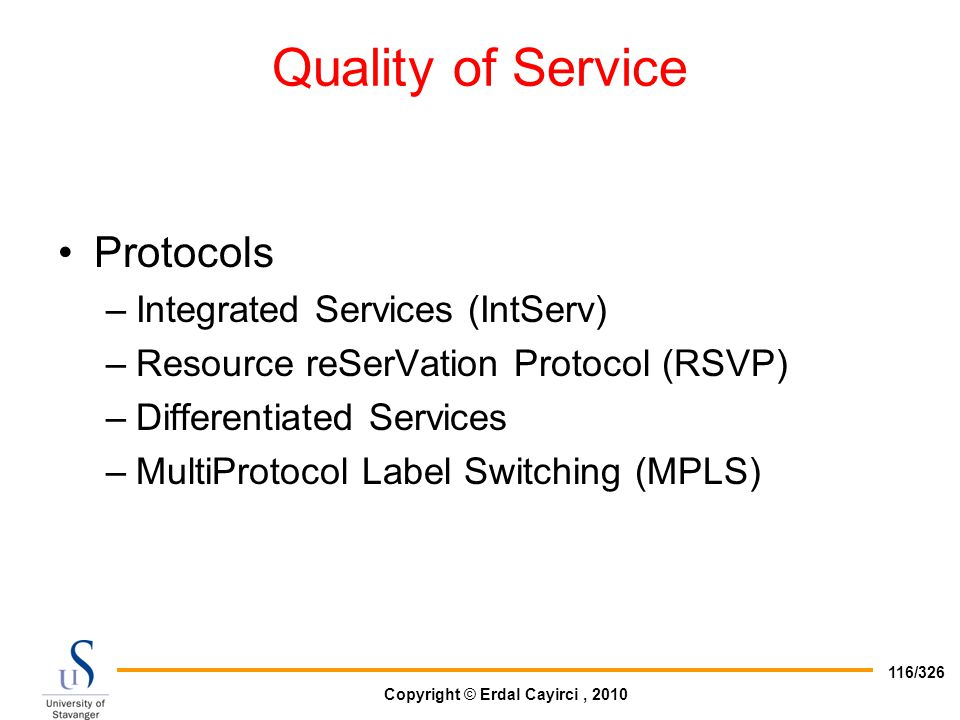 Quality of Service Protocols Integrated Services (IntServ)