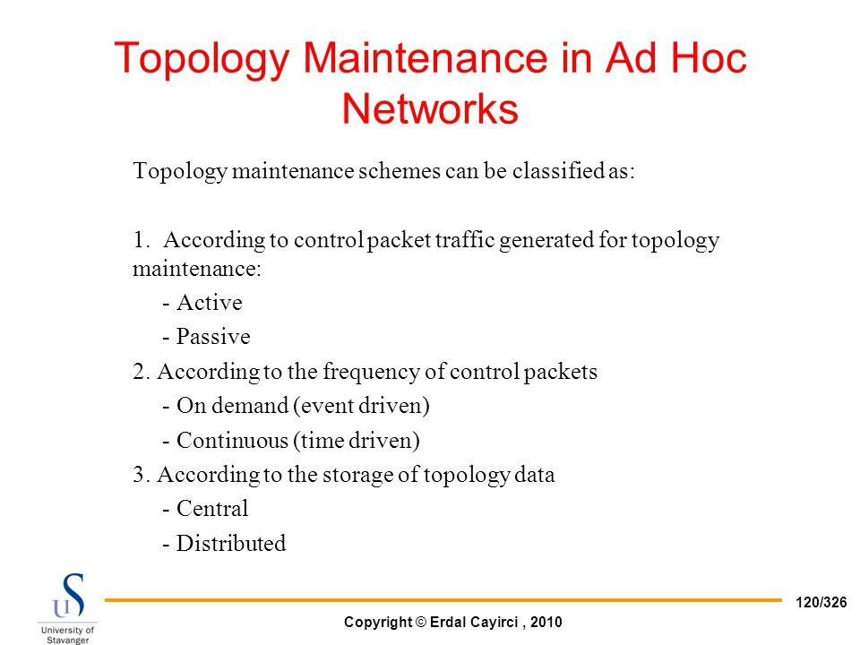 Topology Maintenance in Ad Hoc Networks
