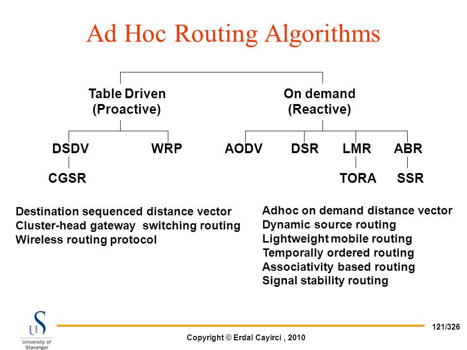 Ad Hoc Routing Algorithms