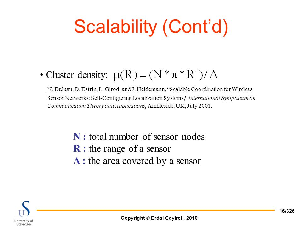 Scalability (Cont'd) Cluster density: