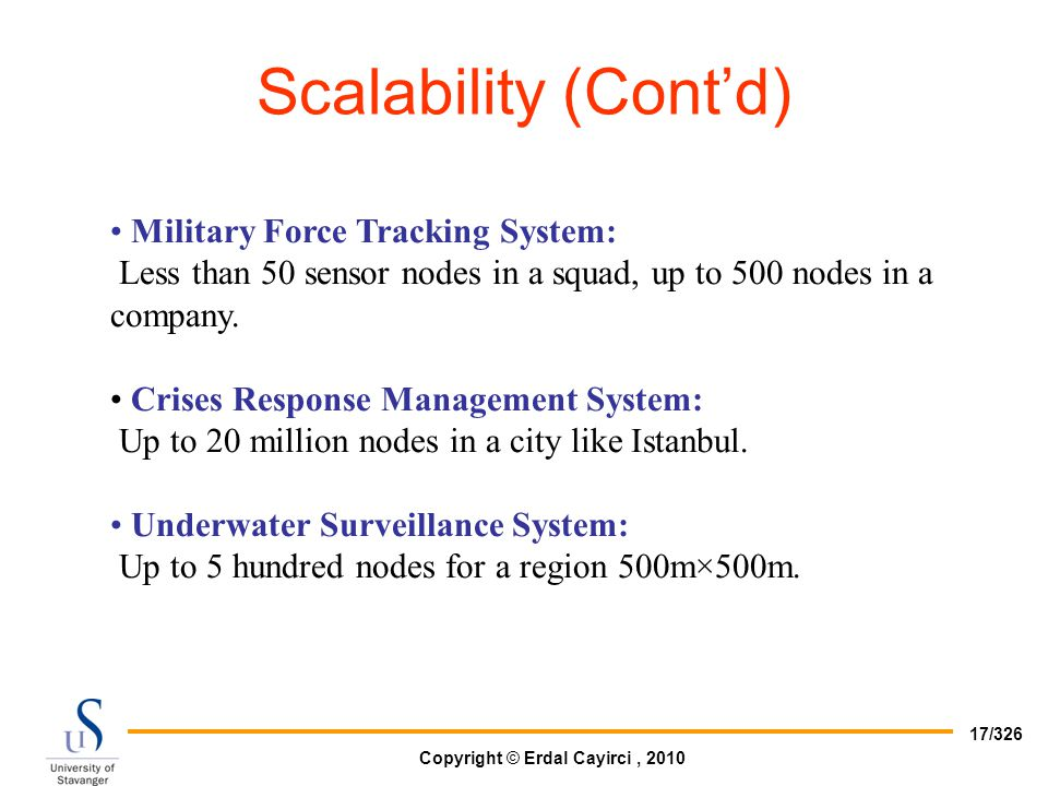 Scalability (Cont'd) Military Force Tracking System: