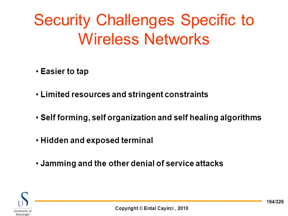 Security Challenges Specific to Wireless Networks