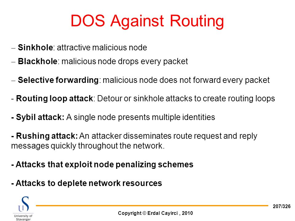 DOS Against Routing Sinkhole: attractive malicious node