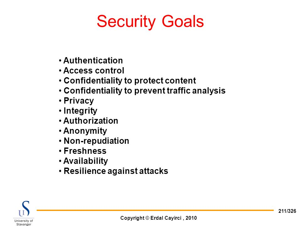 Security Goals Authentication Access control