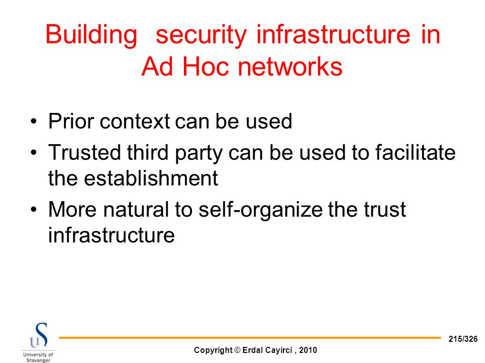 Building security infrastructure in Ad Hoc networks