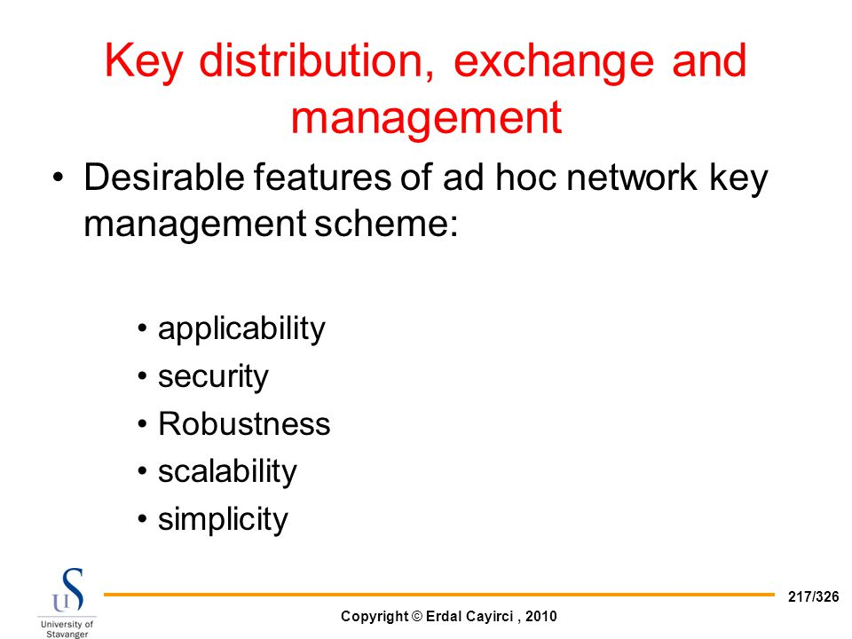 Key distribution, exchange and management