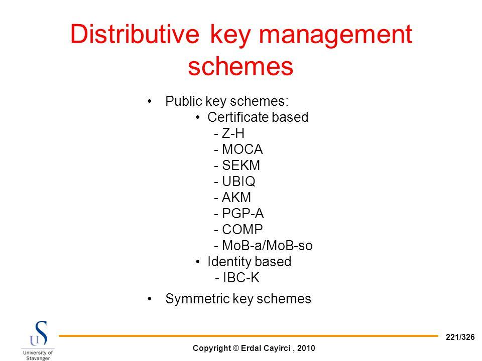 Distributive key management schemes