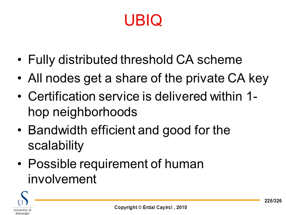 UBIQ Fully distributed threshold CA scheme