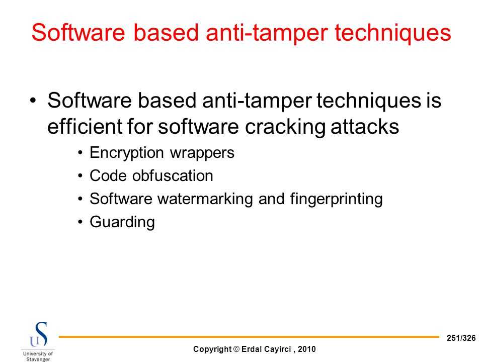 Software based anti-tamper techniques