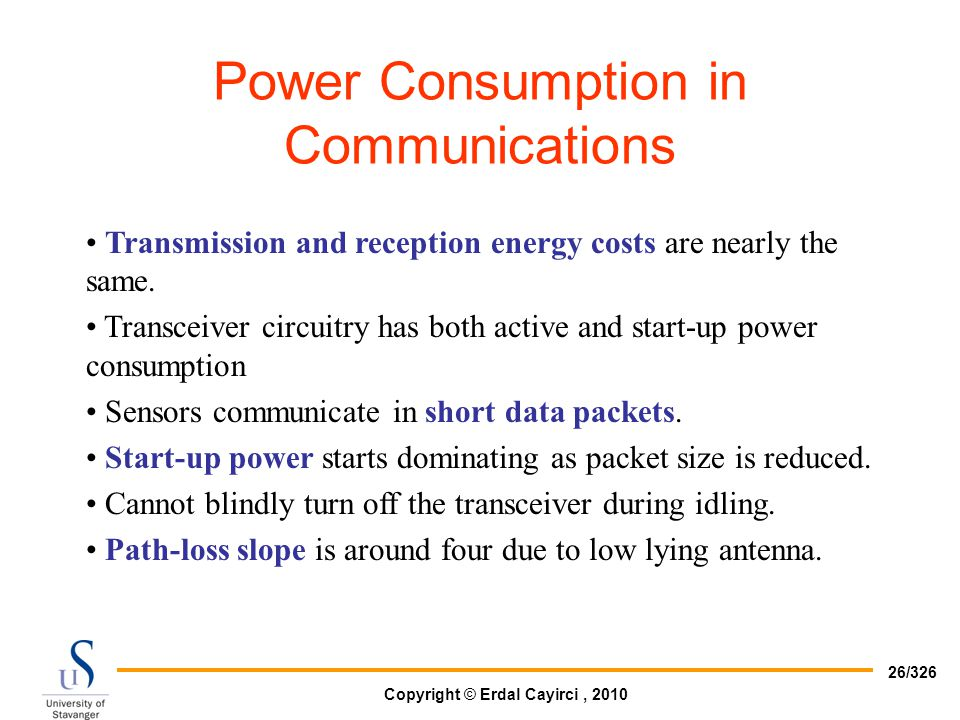 Power Consumption in Communications