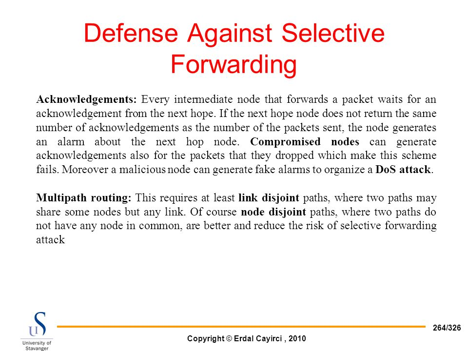 Defense Against Selective Forwarding