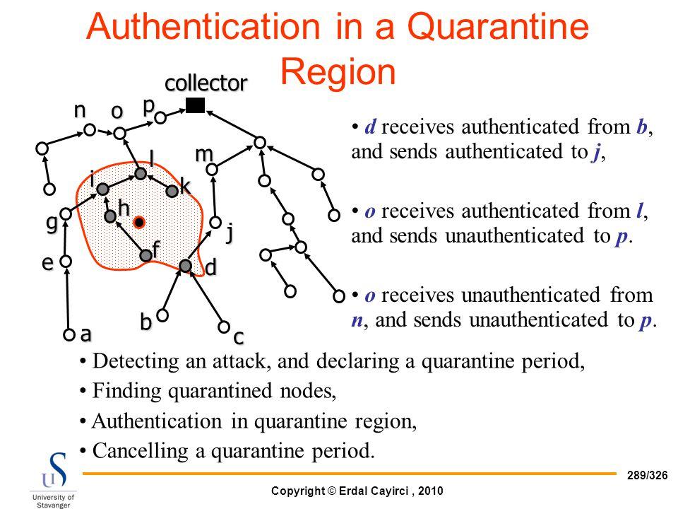 Authentication in a Quarantine Region