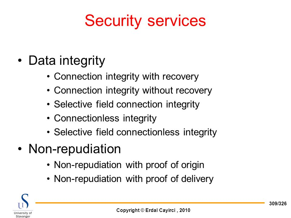 Security services Data integrity Non-repudiation