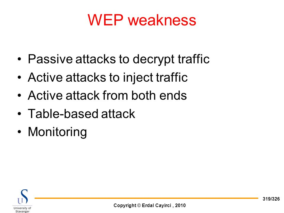 WEP weakness Passive attacks to decrypt traffic