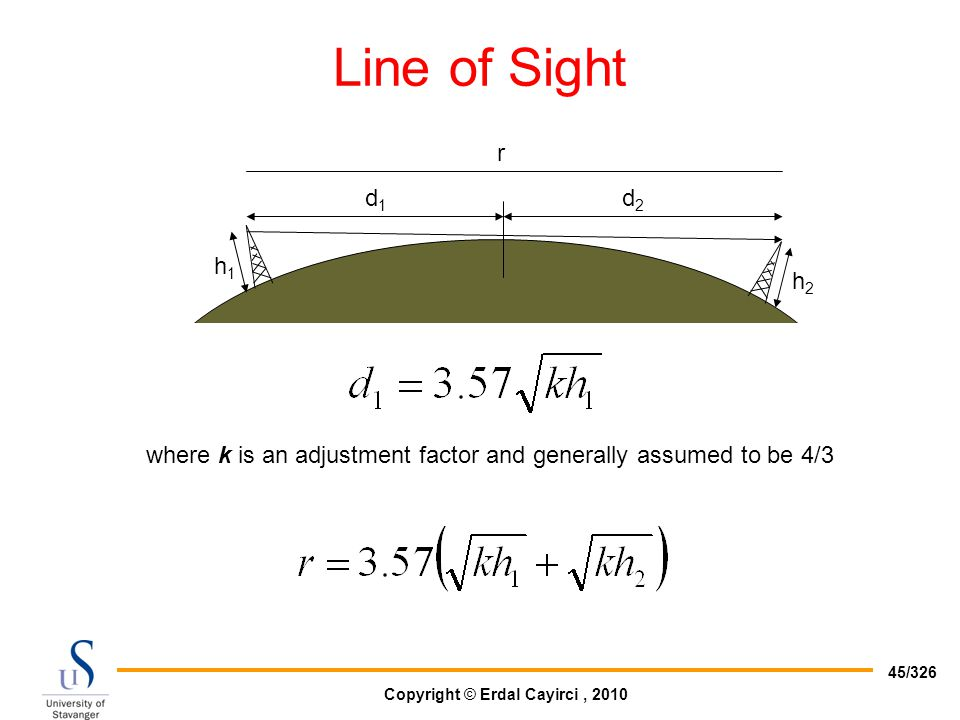 Line of Sight h1 d1 d2 r h2 where k is an adjustment factor and generally assumed to be 4/3