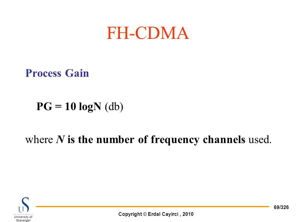 FH-CDMA Process Gain PG = 10 logN (db)