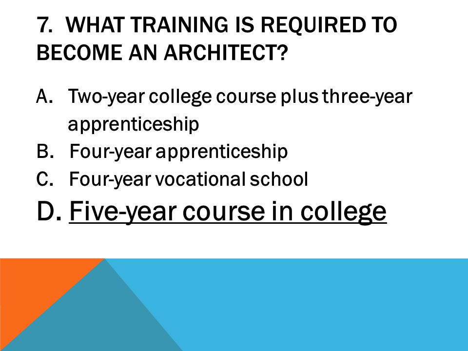 7. What training is required to become an architect