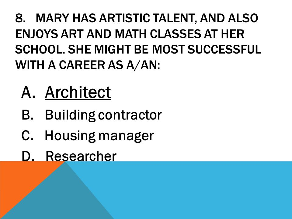 A. Architect B. Building contractor C. Housing manager D. Researcher
