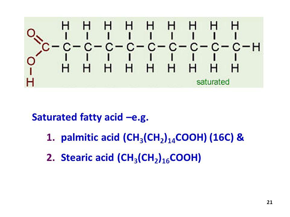 Saturated fatty acid –e.g.