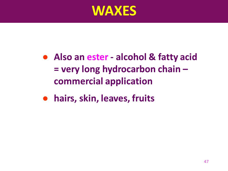 WAXES Also an ester - alcohol & fatty acid = very long hydrocarbon chain – commercial application.