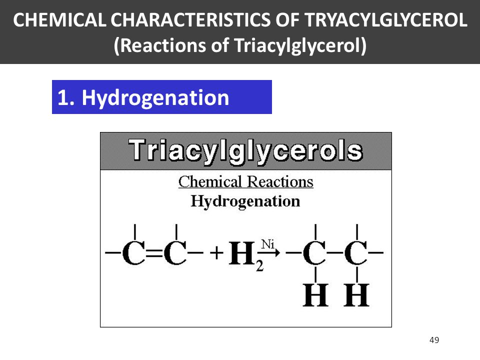 CHEMICAL CHARACTERISTICS OF TRYACYLGLYCEROL (Reactions of Triacylglycerol)