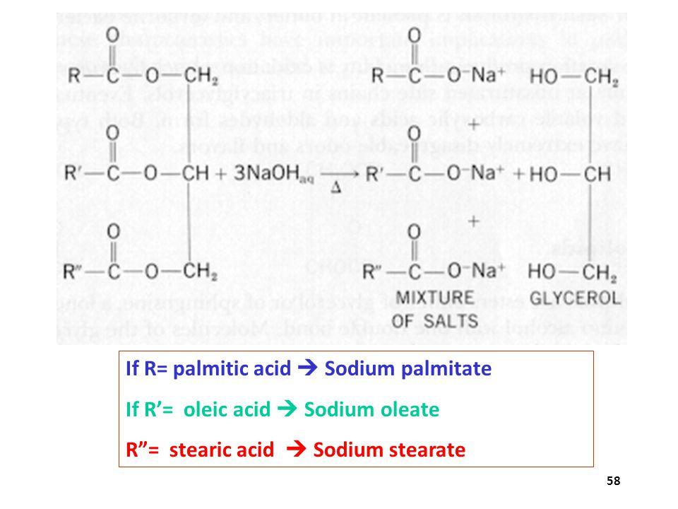 If R= palmitic acid  Sodium palmitate