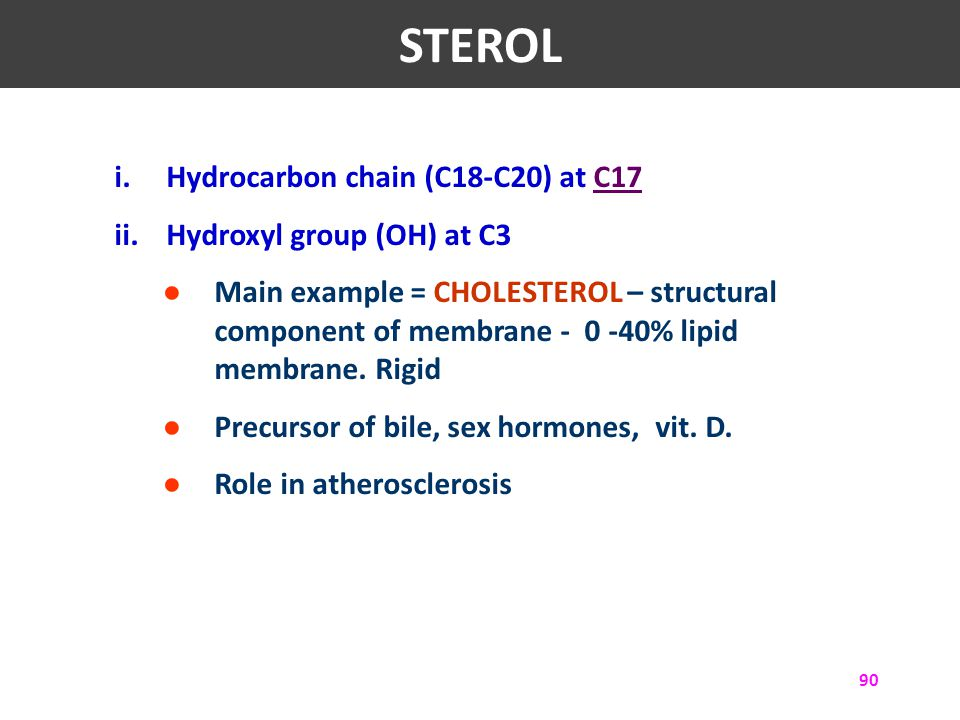 STEROL Hydrocarbon chain (C18-C20) at C17